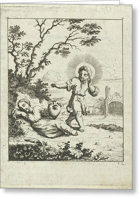 Christ Finds The Personified Soul Asleep Greeting Card by Jan Luyken And Pieter Arentsz Ii