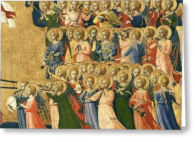 Christ Glorified In The Court Of Heaven, Detail Of Musical Angels From The Right Hand Side, 1419-35 Greeting Card