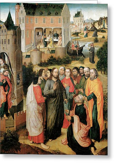 Christ Handing The Keys To St Peter Greeting Card