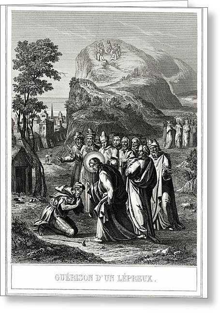 Christ Healing A Leper Greeting Card by National Library Of Medicine