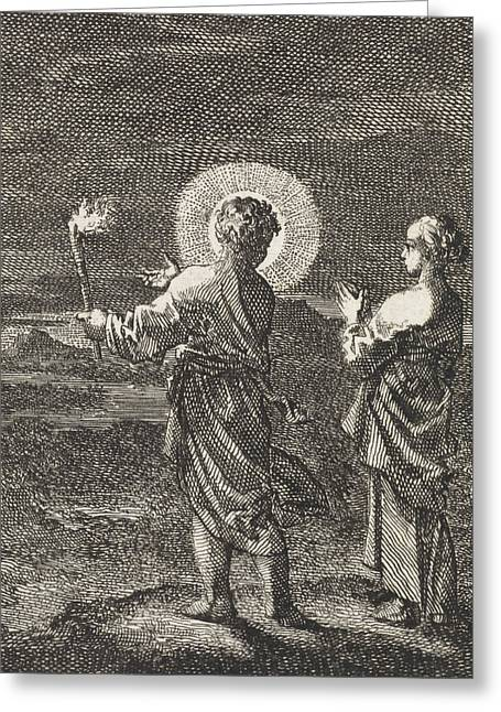 Christ Illuminates The Darkness With A Torch Greeting Card