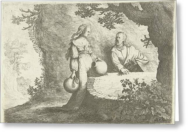 Christ In Conversation With The Samaritan Woman Greeting Card by Willem Basse