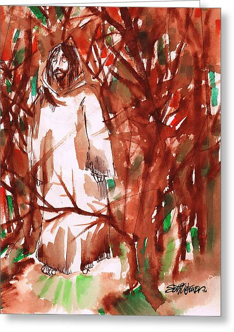 Christ In The Forest Greeting Card