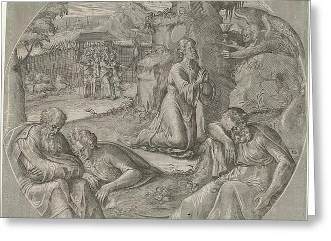 Christ In The Garden Of Gethsemane, Crispijn Van Den Broeck Greeting Card by Crispijn Van Den Broeck
