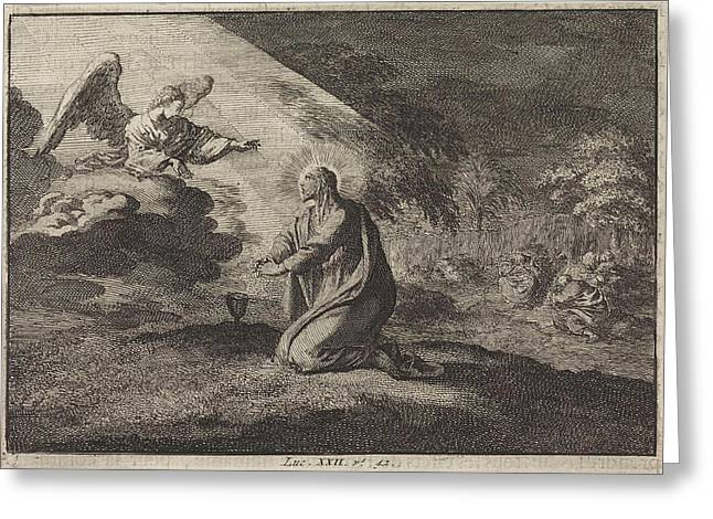 Christ In The Garden Of Gethsemane, Jan Luyken Greeting Card by Jan Luyken And Pieter Mortier