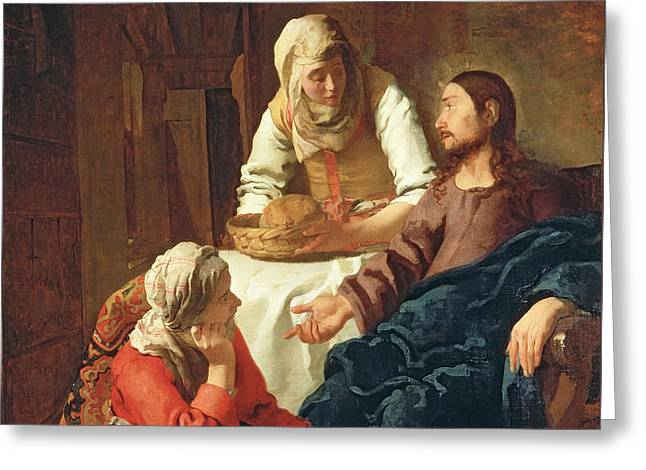 Christ In The House Of Martha And Mary Greeting Card by Jan Vermeer
