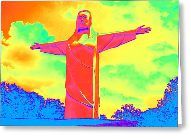 Christ Of The Ozarks In Primary Colors Greeting Card