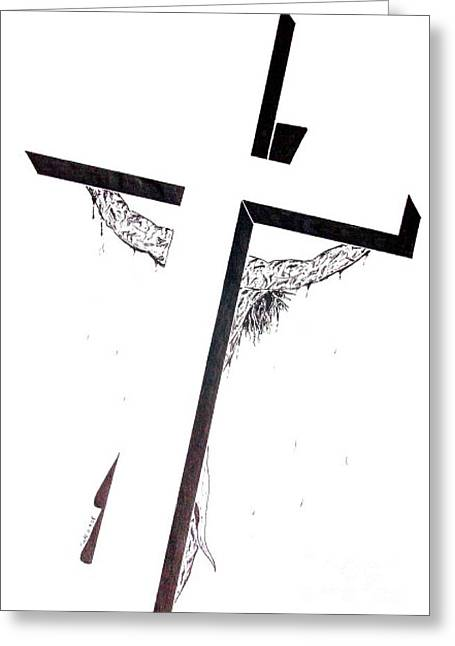 Greeting Card featuring the drawing Christ On Cross by Justin Moore