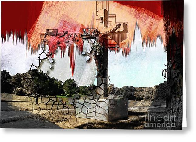 Christ On The Cross Greeting Card by Liane Wright