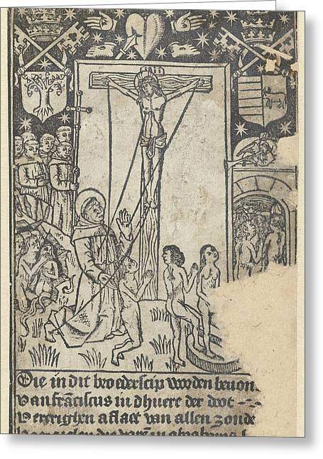 Christ On The Cross With St Greeting Card