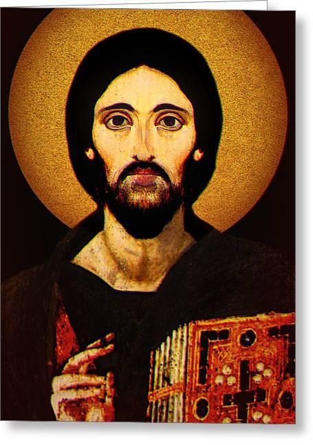 Christ Pantocrator Greeting Card by Li   van Saathoff