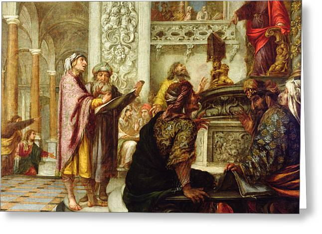 Christ Preaching In The Temple Greeting Card by Juan de Valdes Leal