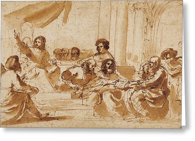 Christ Preaching In The Temple Guercino Giovanni Francesco Greeting Card by Litz Collection