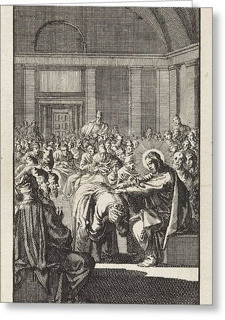 Christ Puts His Hand On A Woman, Jan Luyken Greeting Card