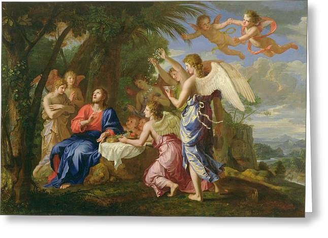 Greeting Card featuring the painting Christ Served By The Angels - Jacques Stella - 1656 by Jacques Stella