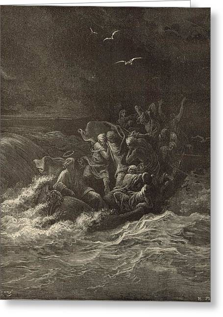 Christ Stilling The Tempest Greeting Card by Antique Engravings