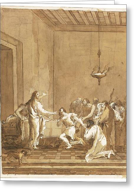 Christ Warns St. Peter In The Upper Room Greeting Card