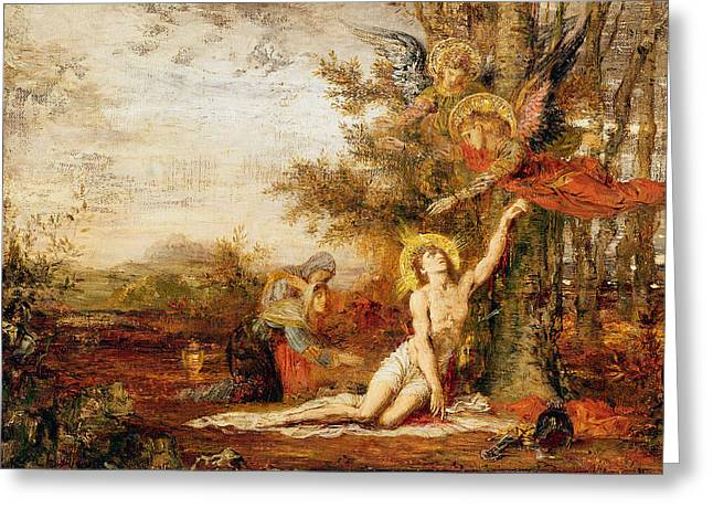 Christ With Angels Greeting Card by Gustave Moreau