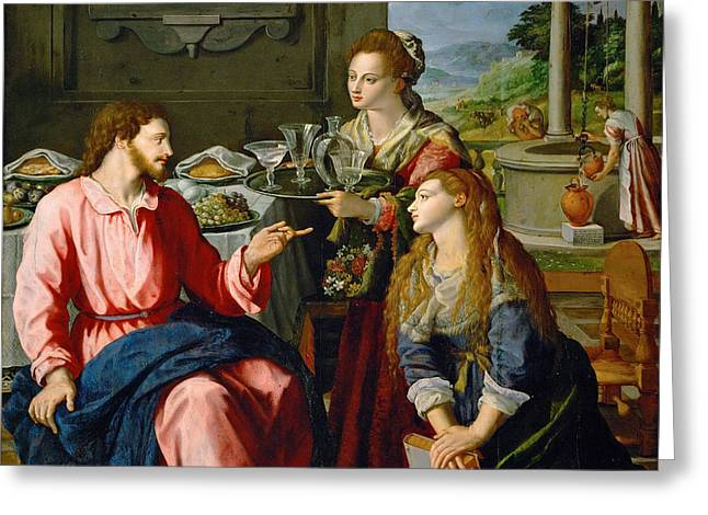 Christ With Mary And Martha Greeting Card by Alessandro Allori