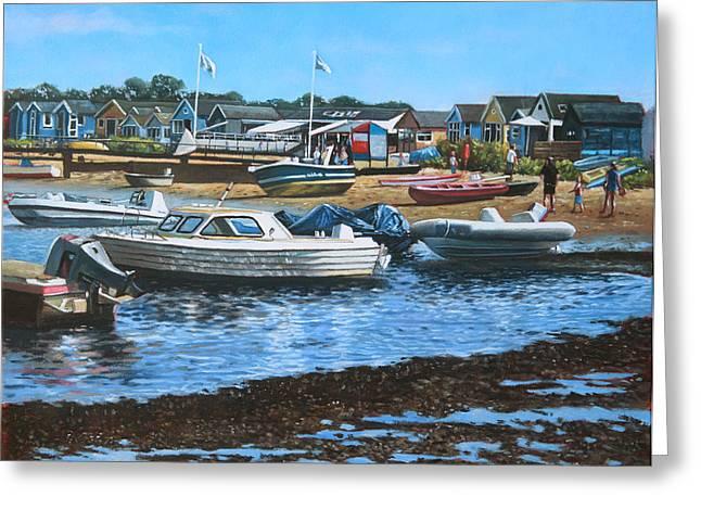 Christchurch Hengistbury Head Beach With Boats Greeting Card by Martin Davey