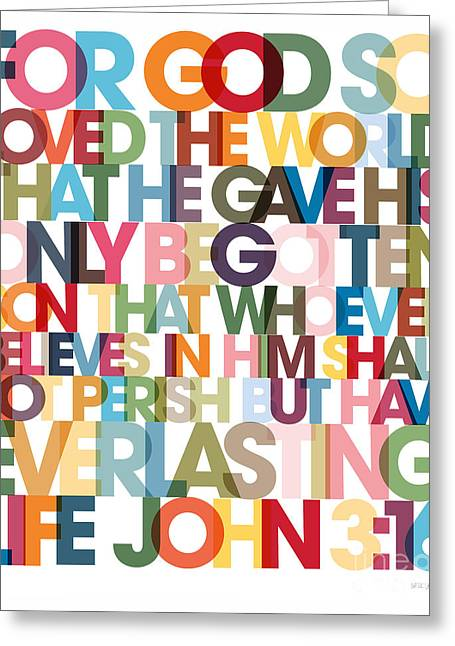 Christian Art- John 3 16 Versevisions Poster Greeting Card by Mark Lawrence
