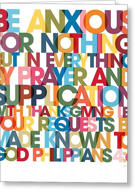Christian Art- Philippians 4 6 Versevisions Wall Art Poster Greeting Card by Mark Lawrence