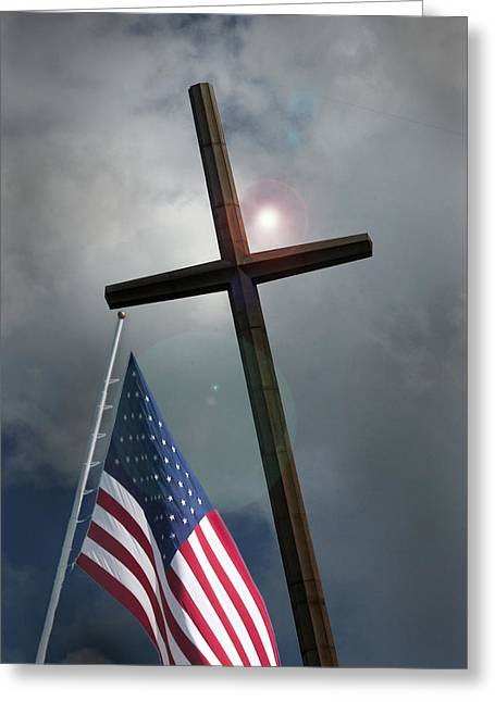 Greeting Card featuring the photograph Christian Cross And Us Flag by Bob Pardue