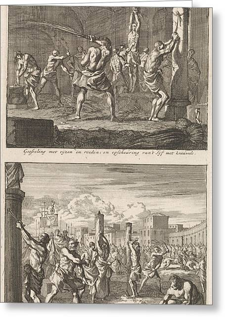 Christians Are Flogged In A Cell And Christians Are Flogged Greeting Card by Jan Luyken And Jacobus Van Hardenberg And Barent Visscher