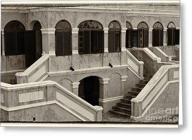 Christiansted National Historic Fort Sepia Greeting Card by Iris Richardson