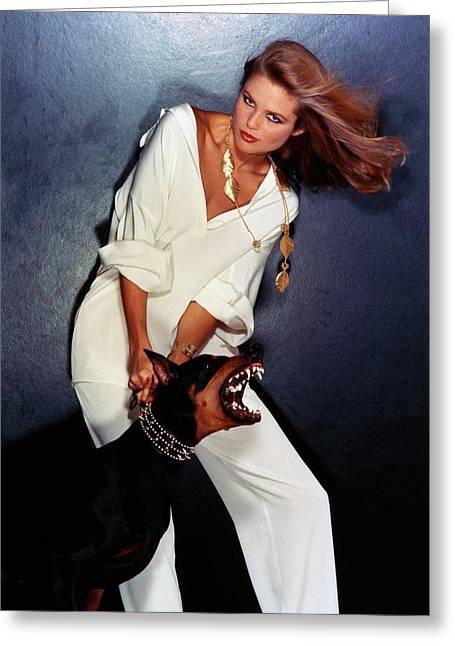 Christie Brinkley Wearing Geoffrey Beene Pajamas Greeting Card by Chris Von Wangenheim