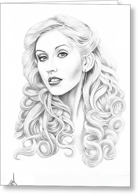 Christina Aguilera Greeting Card by Murphy Elliott