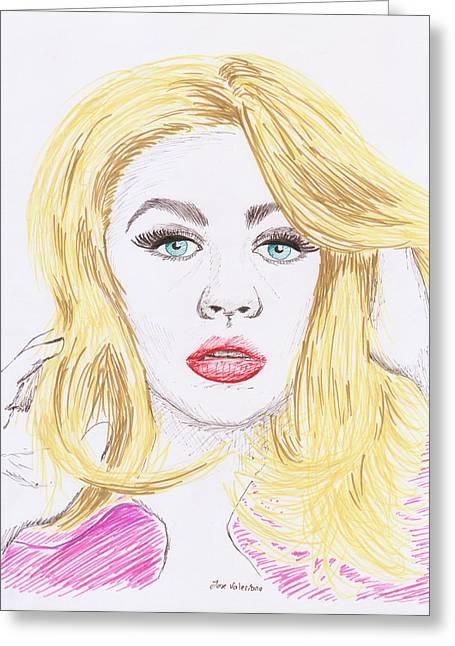 Christina Aguilera Sketch Greeting Card by M Valeriano