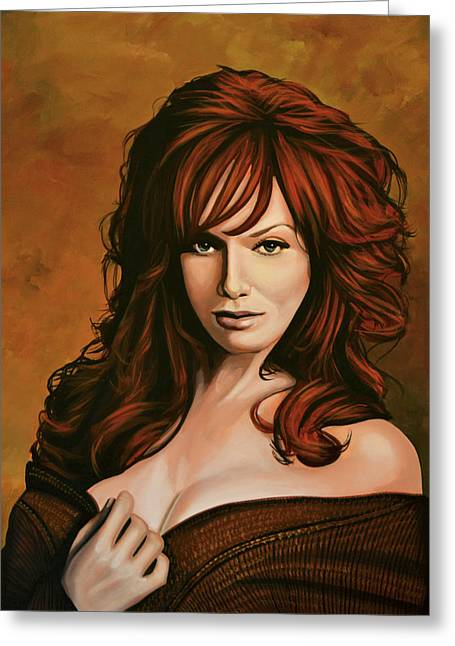 Christina Hendricks Painting Greeting Card by Paul Meijering