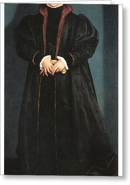 Christina Of Denmark Duchess Of Milan Greeting Card by Hans Holbein the Younger