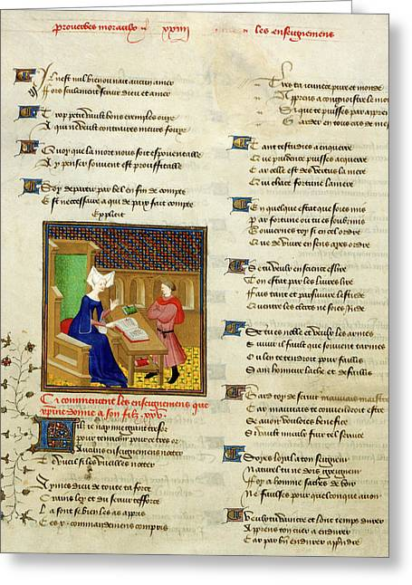 Christine De Pisan And Her Son Greeting Card
