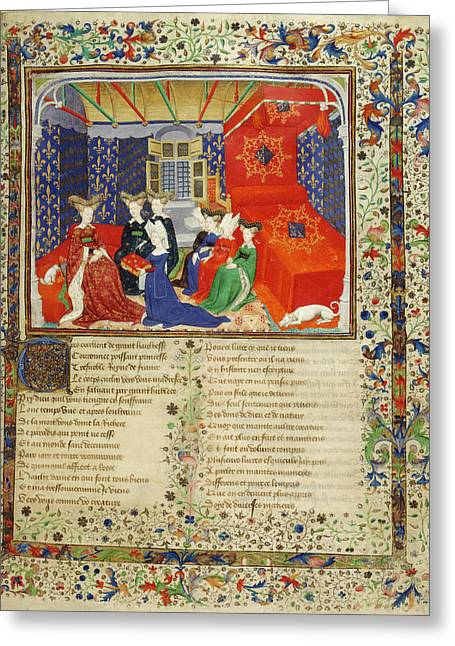 Christine De Pisan With Her Book Greeting Card