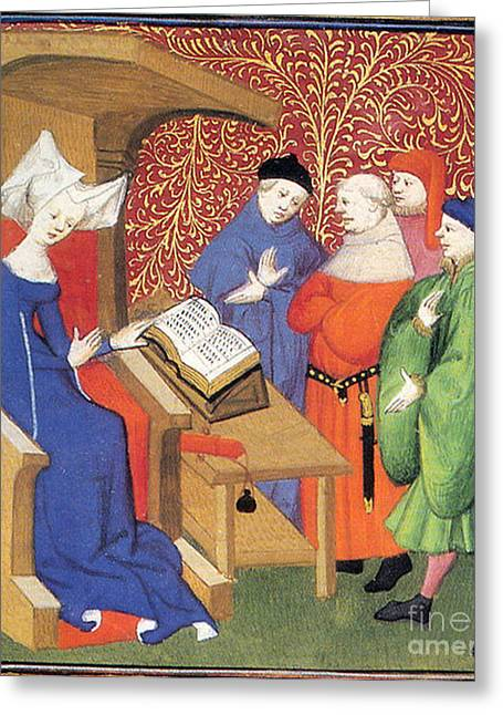 Christine De Pizan Lecturing To Men Greeting Card by Photo Researchers