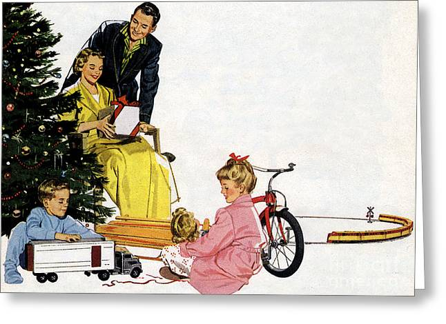 Christmas 1940 50s Style Vintage Classic Poster Greeting Card by R Muirhead Art