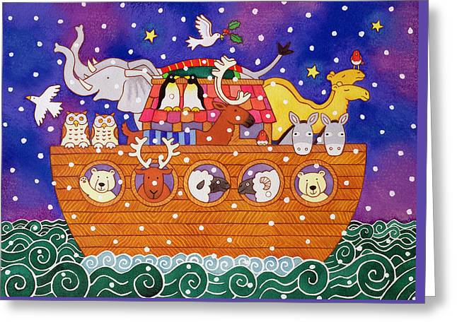 Christmas Ark Greeting Card by Cathy Baxter