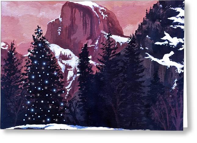 Christmas At Half Dome Greeting Card by Sara Coolidge