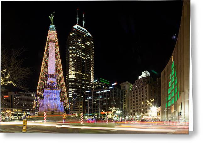 Christmas At Monument Circle Greeting Card by Twenty Two North Photography