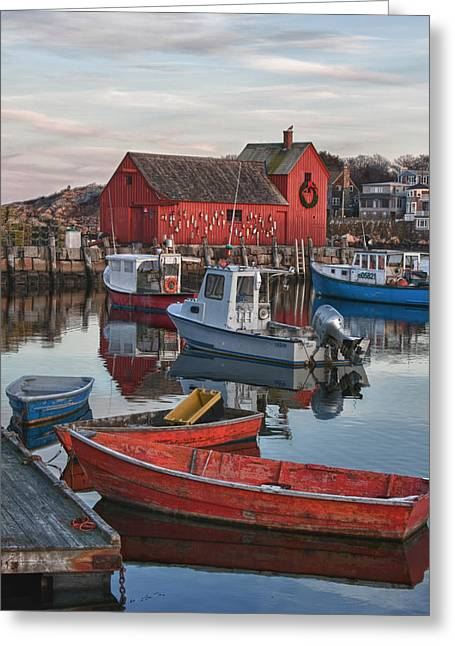 Christmas At Motif1 Rockport Massachusetts Greeting Card by Jeff Folger