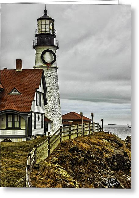 Christmas At Portland Head Light Greeting Card