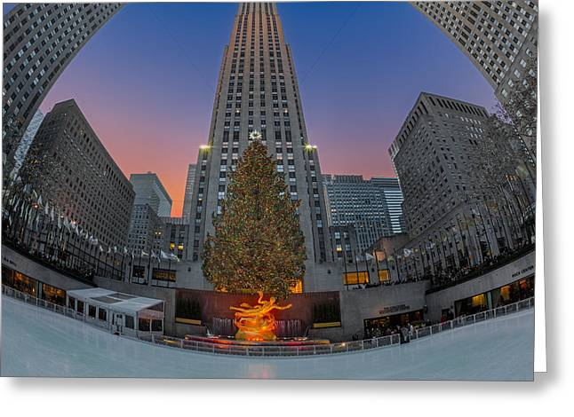 Christmas At Rockefeller Center In Nyc Greeting Card by Susan Candelario
