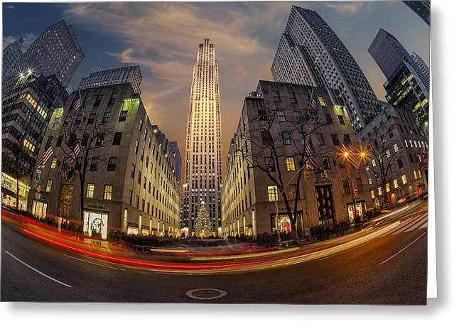 Christmas At Rockefeller Center Greeting Card by Susan Candelario