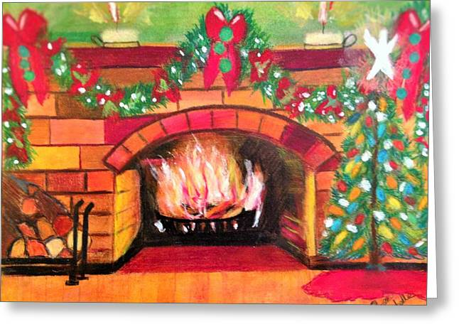 Christmas At The Cabin Greeting Card by Renee Michelle Wenker