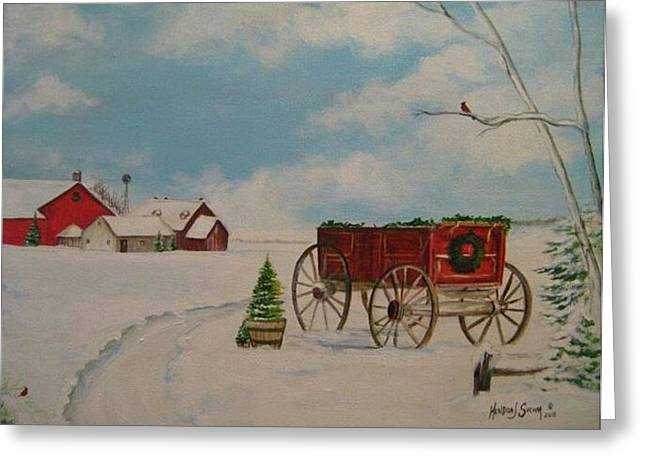 Christmas At The Farm Greeting Card by Kendra Sorum