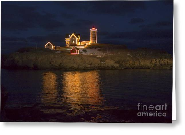 Christmas At The Nubble Greeting Card by Steven Ralser