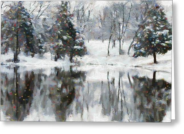 Christmas At The Pond Greeting Card