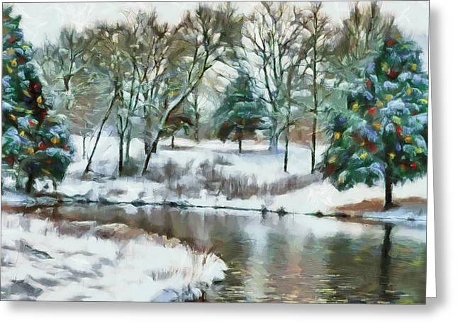 Christmas At The Pond Too Greeting Card